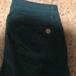 Tory Burch My Super Skinny green jeans